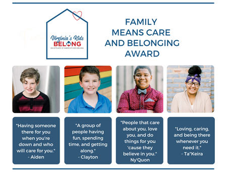 Family Means Care and Belonging Award