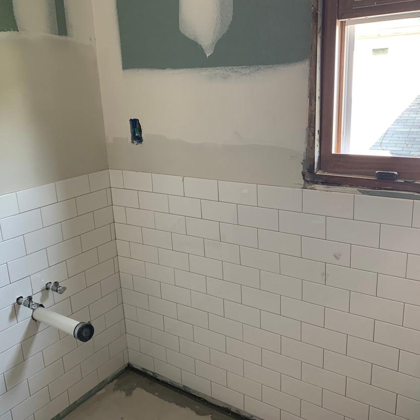 Bathroom toilet tiled