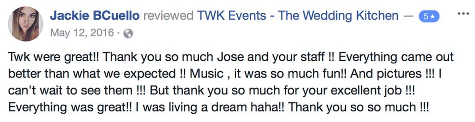 TWK wedding review