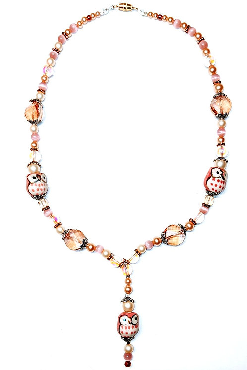Pink Owls with Pearls Necklace