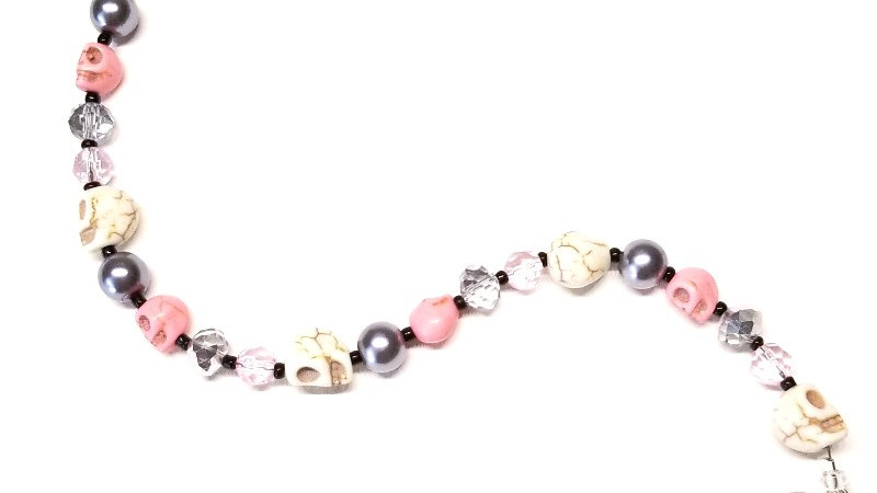 Grey with Pink Skulls Bracelet