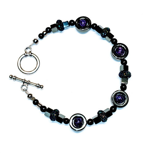 Purple Crackle Galaxy Bracelet