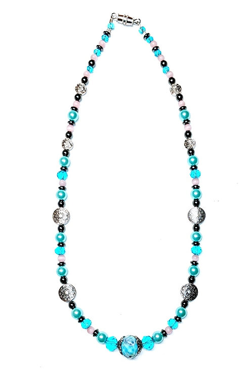 Light Blue, Pink & Silver Pendulums Necklace
