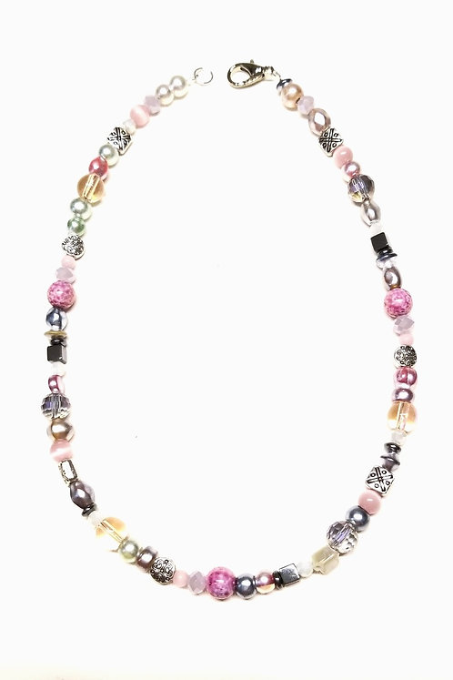 Pink-Silver Fun Necklace