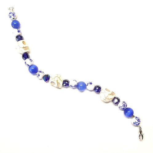 Blue and White Skull Bracelet