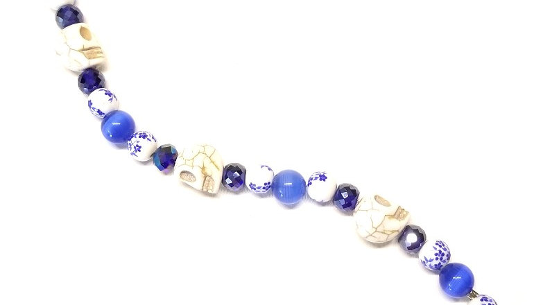 Blue and White Skull Bracelet