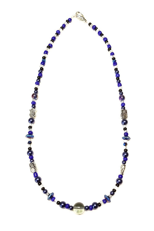 Night Sky with Owls1 Necklace