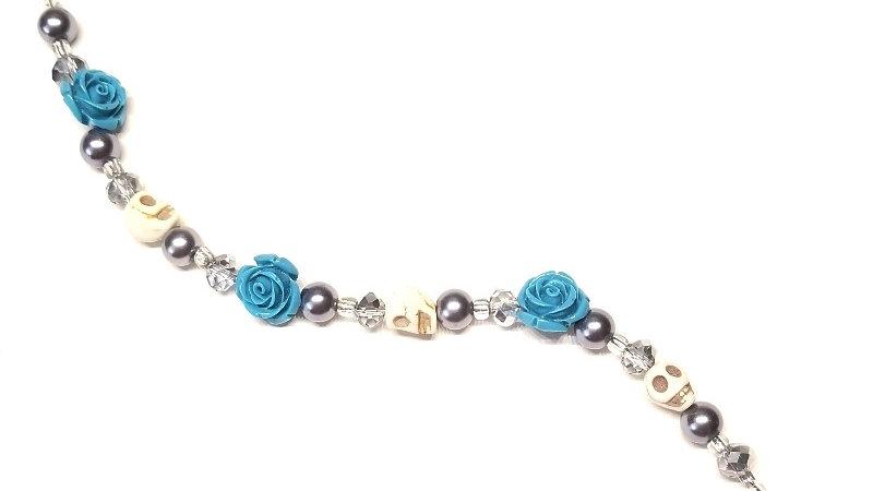 Blue Rose-Skull Bracelet