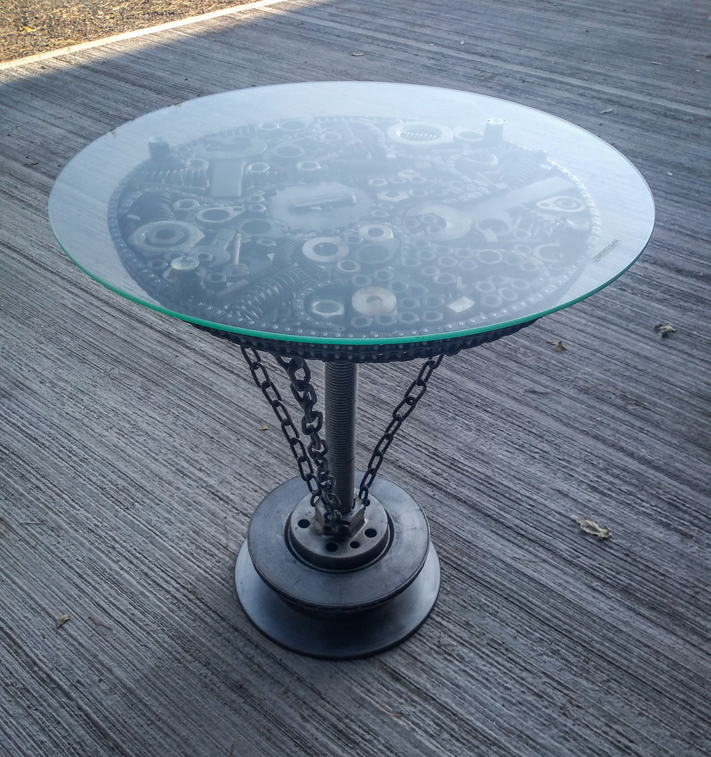 Steampunk feature coffee table.