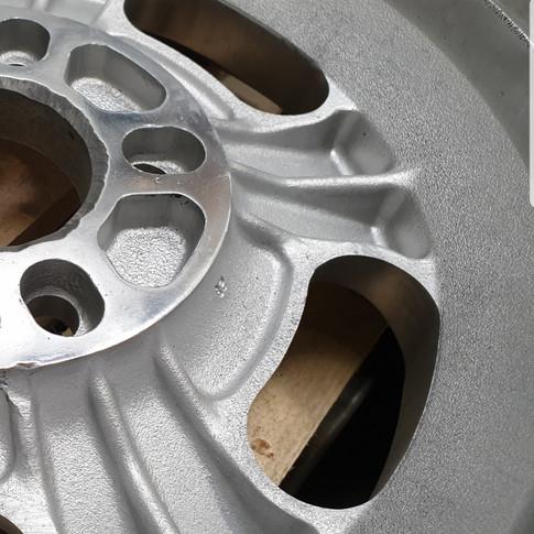 Alloy wheel beadblast finish.