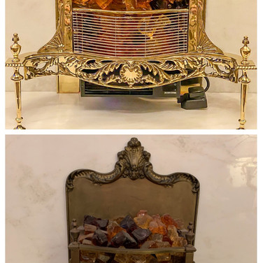 Beautiful brass fire place restoration after and before.
