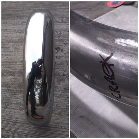 Classic Steel Mud guard restoration - after and before.