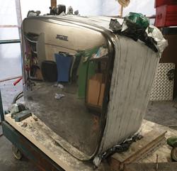 Lorry fuel tank mirror finish.