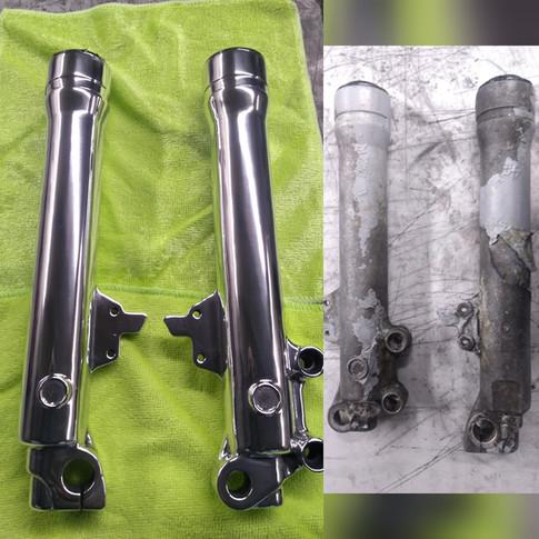 Aluminium bike forks restored.