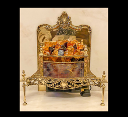 Brass fireplace restored.