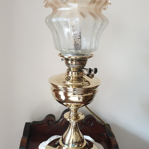 Brass vintage lamp restored to former beauty.