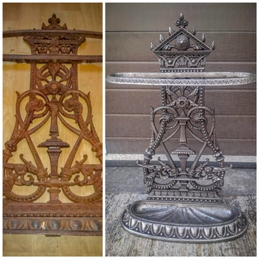Before and after polishing of this decorative iron piece.