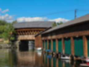Riveredge Marina Boathouses on Squam Lak