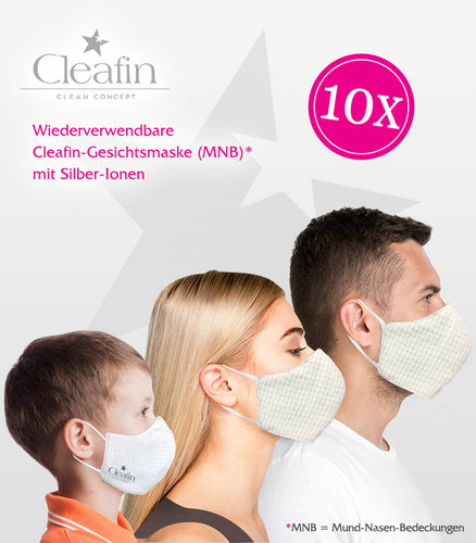 Gesichtsmasken, 10 Stück, Familienpaket