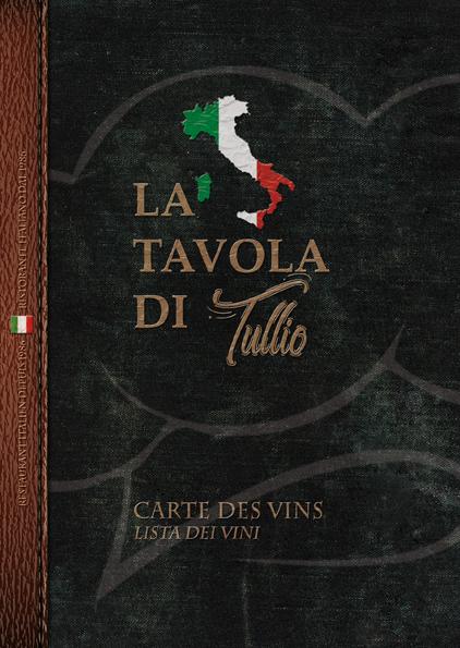 Carte des vins restaurant italien