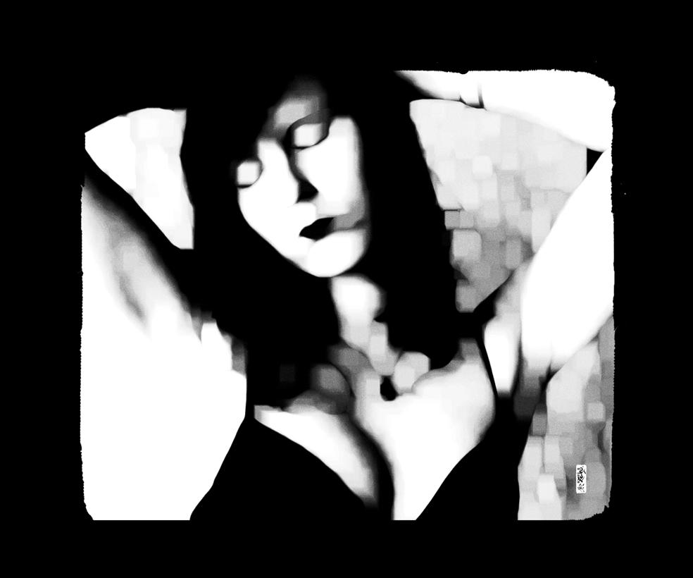 """""""Femme fond noir"""" 120 x 100 cm"""