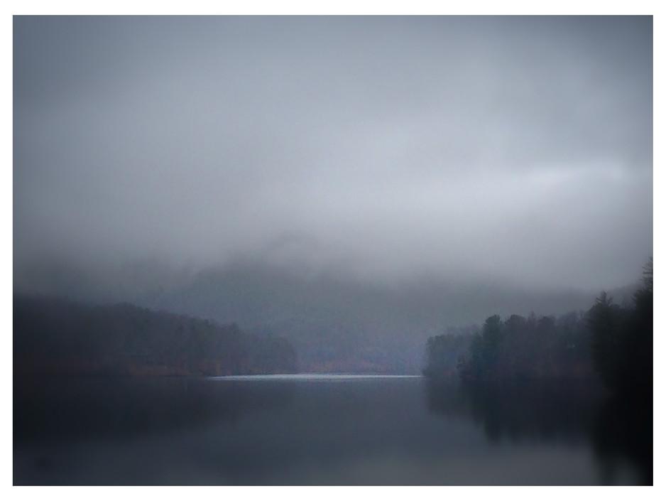 Foggy morning over Lake Petit, Big Canoe, Georgia