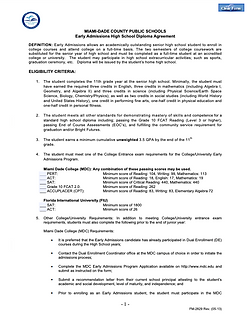MDCPS Early Admissions Agreement