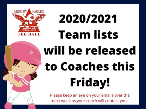 TEAM LISTS TO BE RELEASED TO COACHES FRIDAY 25TH SEPTEMBER