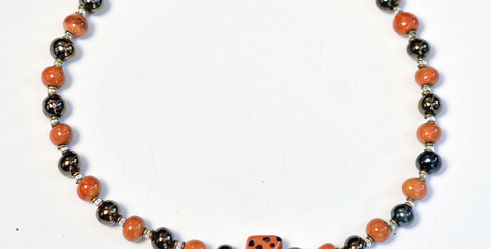 """Chui 18"""" Kalahari Antique Gold, Kazuri Necklace"""
