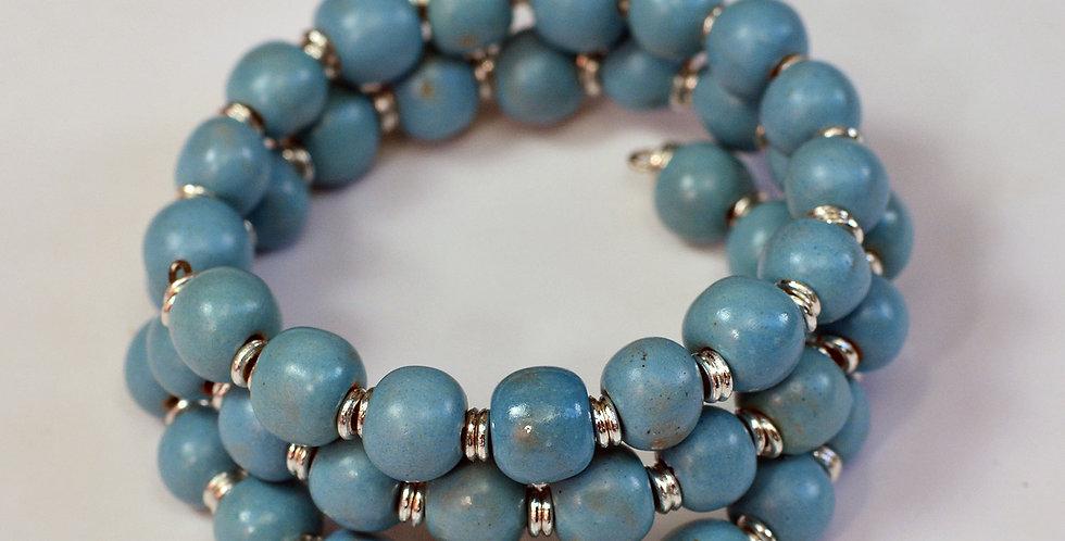 Tiny Rounds Matt Turquoise Mother-of-Pearl, Kazuri Bracelet