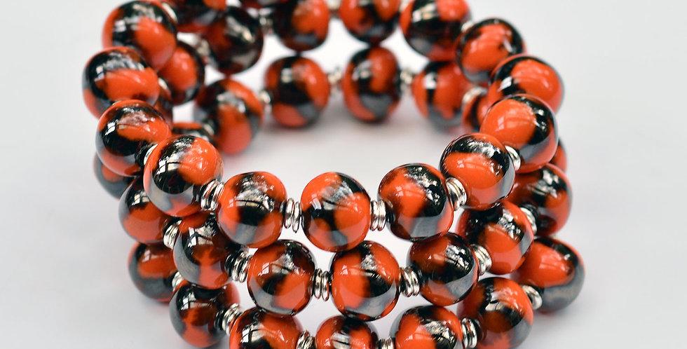 Kanga Antique Gold Orange-c, Kazuri Bracelet
