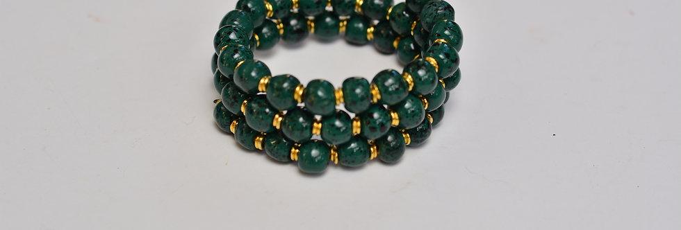 Tiny Rounds Festive Mother of Pearl, Kazuri Bracelet