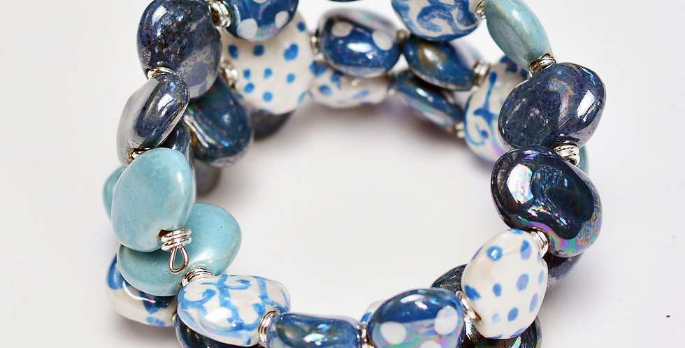 Shale Bergen Mother of Pearl, Kazuri Bracelet