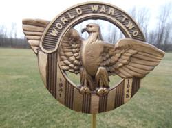 WW II bronze flag holder