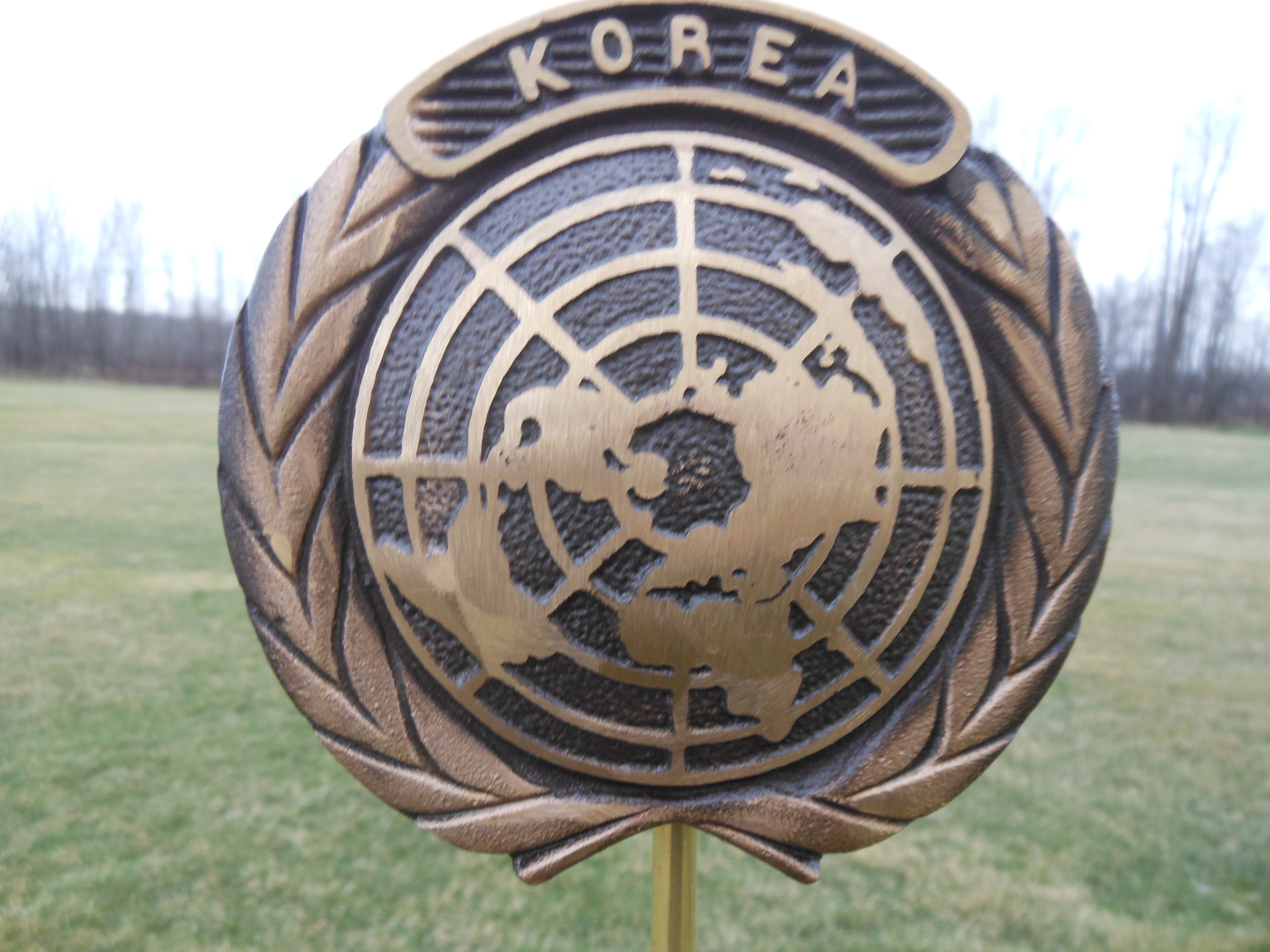 Korean War bronze flag holder