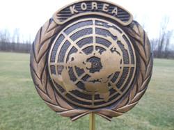 Korean War bronze flag holder