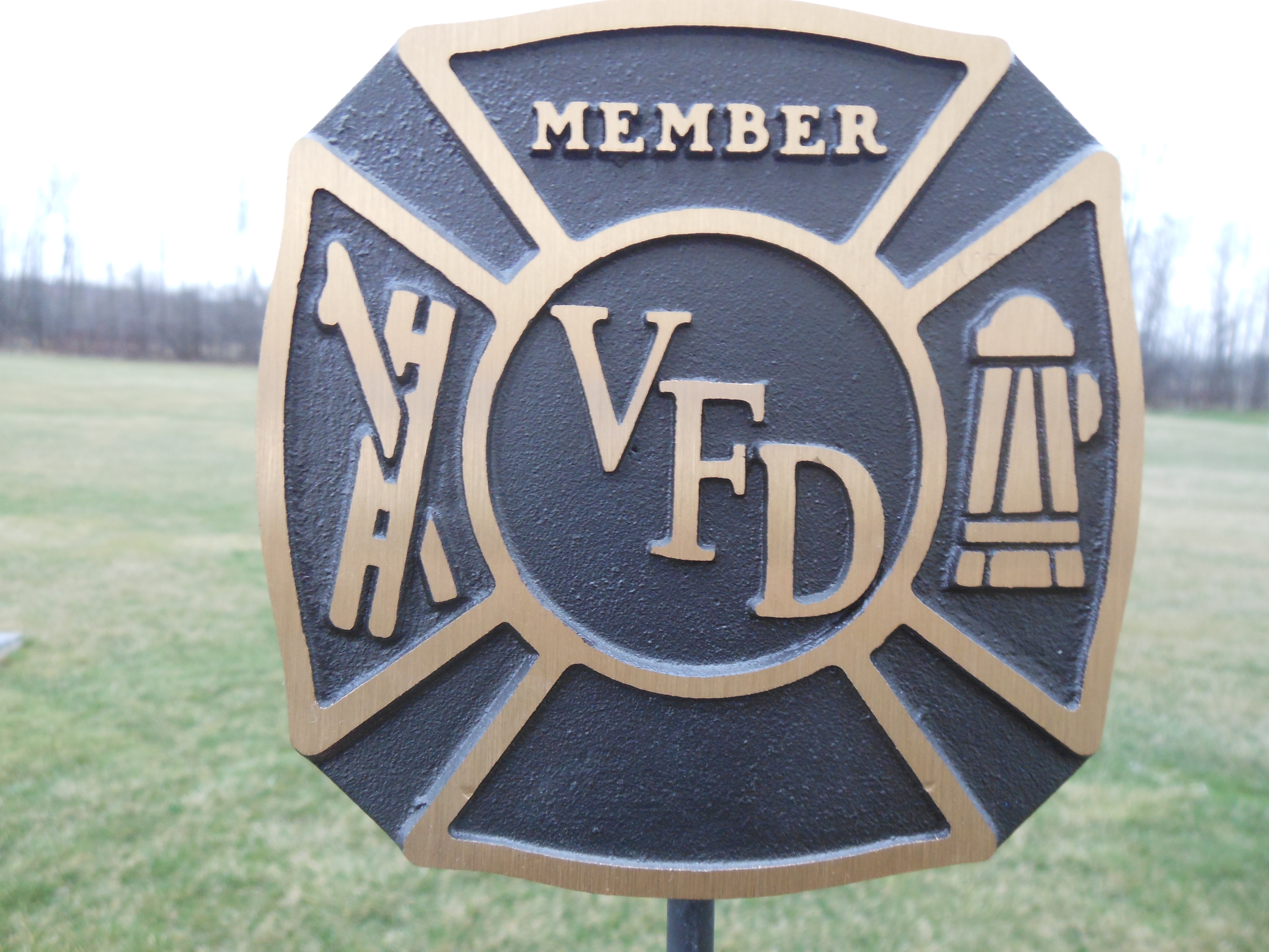 Volunteer Fire Department bronze flag holder