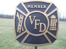 Volunteer Fire Department bronze flag holder