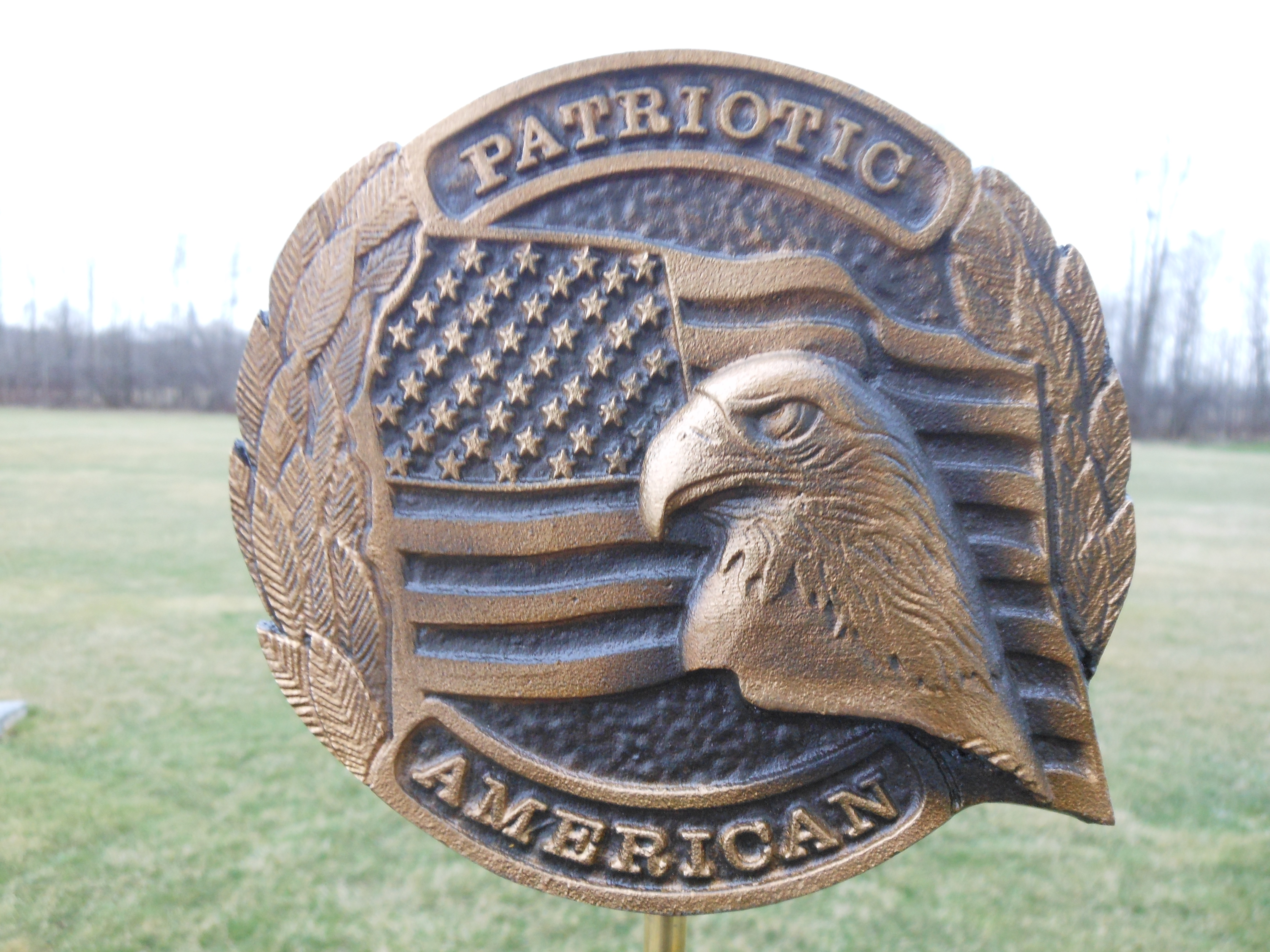 Patriotic American bronze flag holder