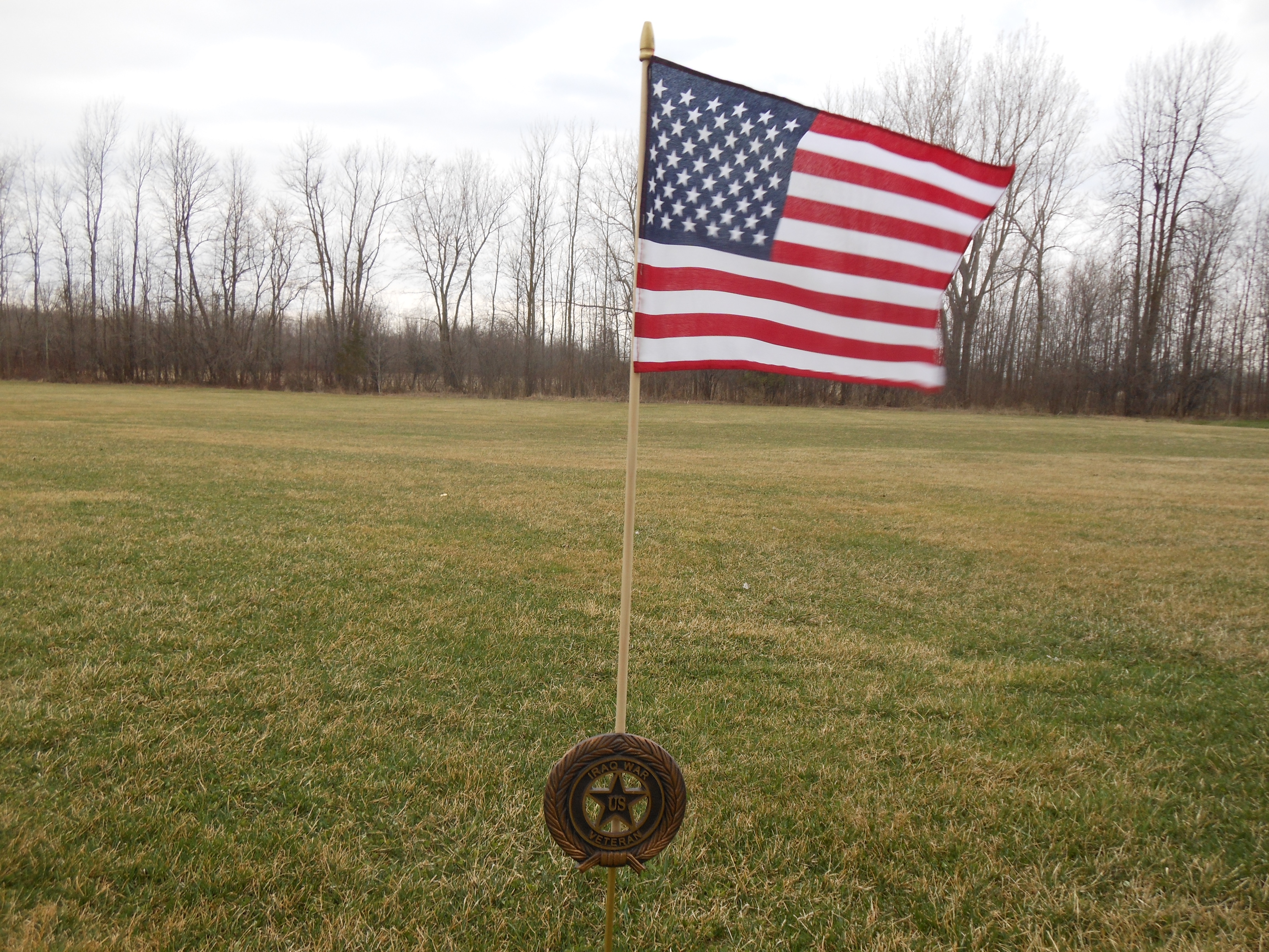 Beautiful bronze flag holder and flag