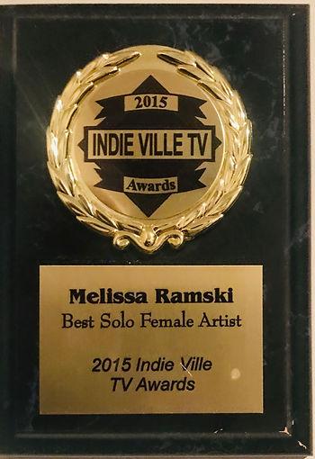 """Melissa Ramski Awarded """"Best Solo Female Artist"""" 2015 Indie Ville TV Awards"""