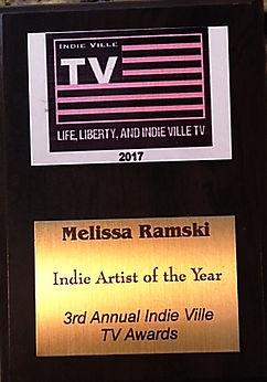 "Melissa Ramski awarded ""Indie Artist of the Year"" 2017 Indie Ville TV"