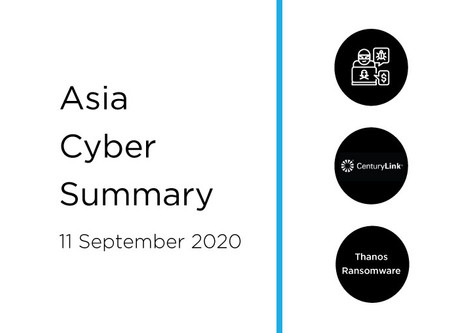 11 Sept 2020 | Asia Cyber Summary