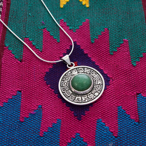 4cm Mayan Disk with Central Green Quartz on 45cm Chain