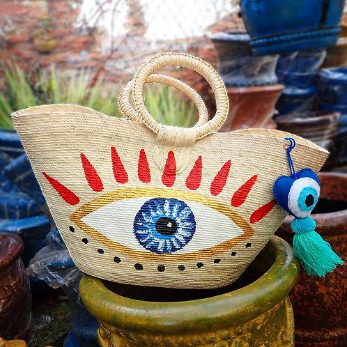 Hand Painted Beach Bag with Mykonos Eye