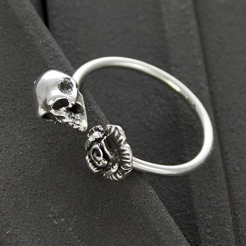 Flower & Skull Ring