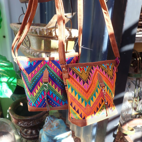 Leather Bag with Huipil Design