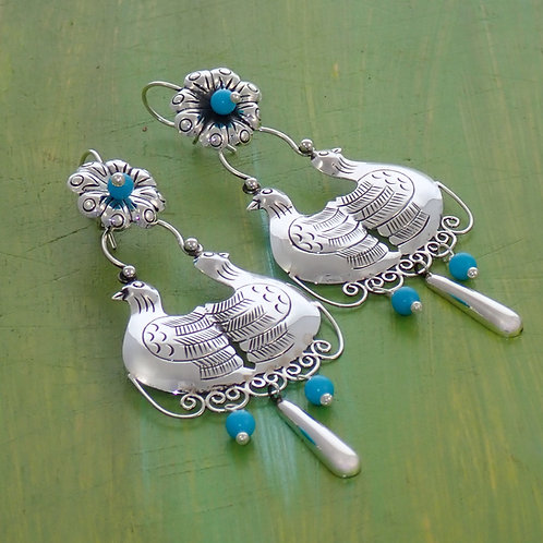 Silver & Turquoise Bird Drops