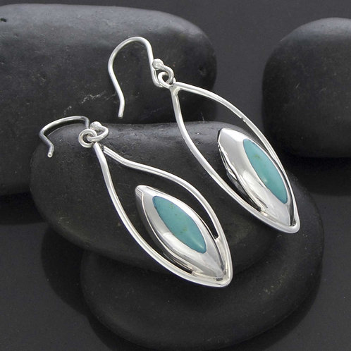 Cat Eye Turquoise Drop Earrings