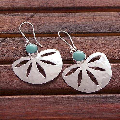 Turquoise or Onyx Fan Earrings